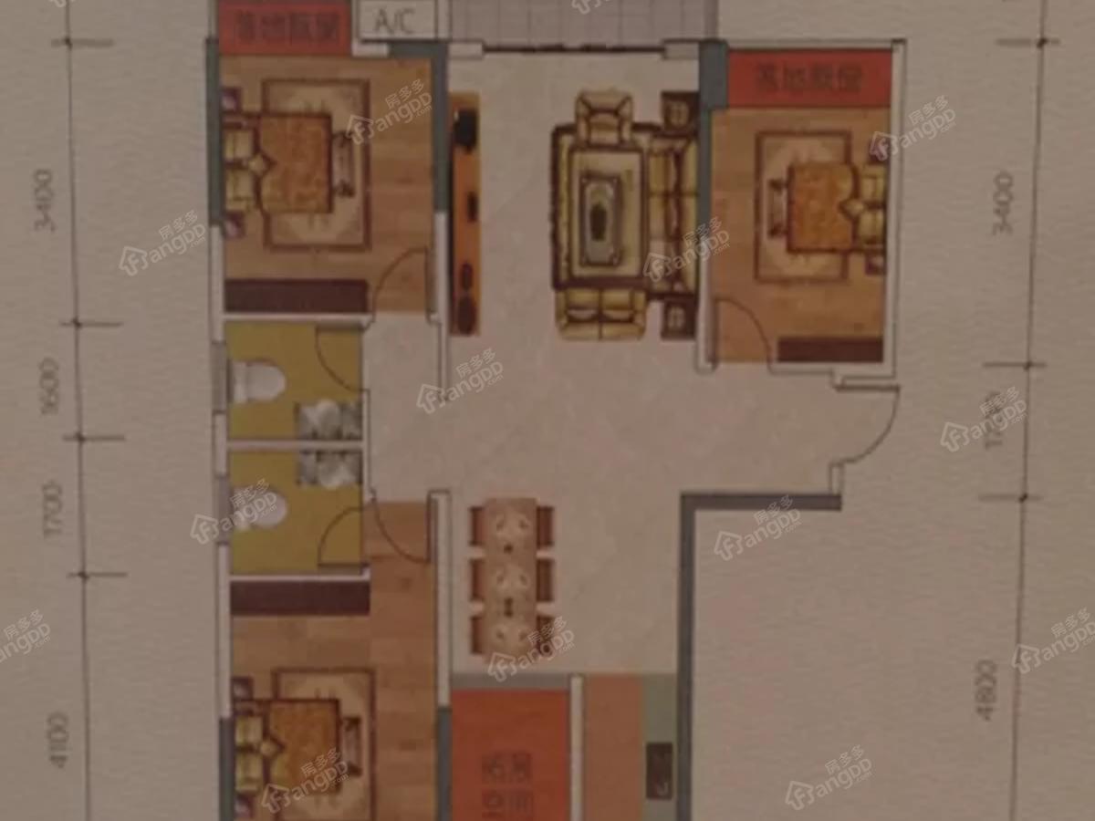 弘润.江景苑3室2厅2卫户型图
