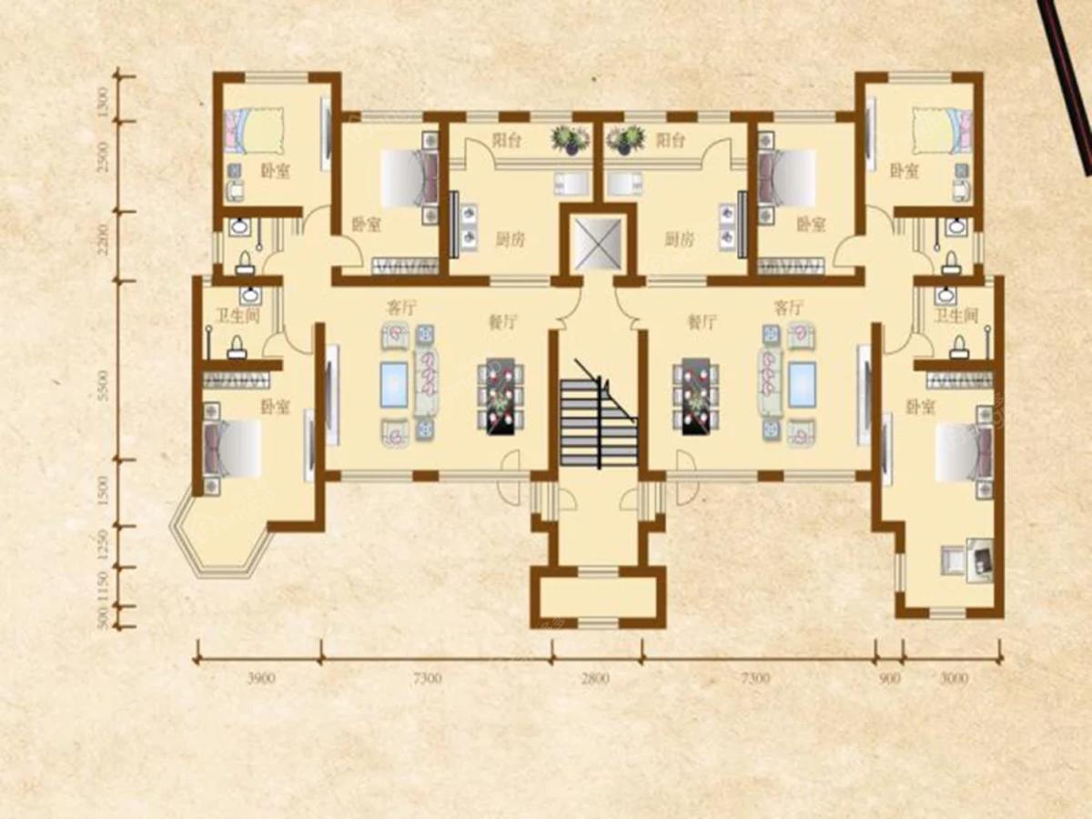 肇源县西海新区3室1厅2卫户型图