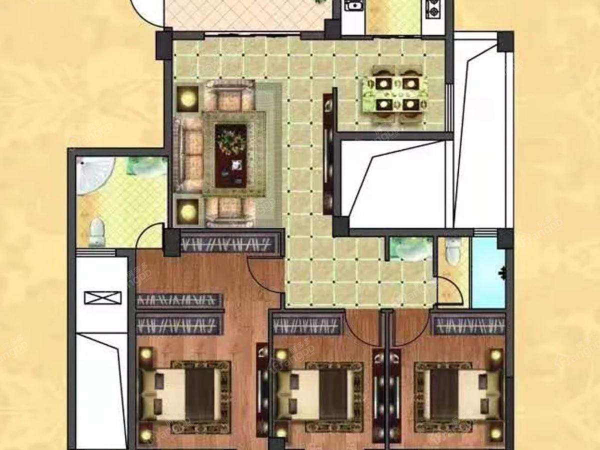 屏南花亭小区4室3厅3卫户型图