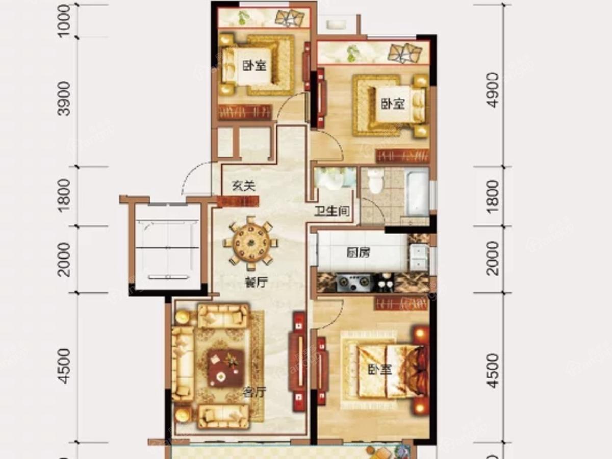 三巽亳公馆3室2厅1卫户型图