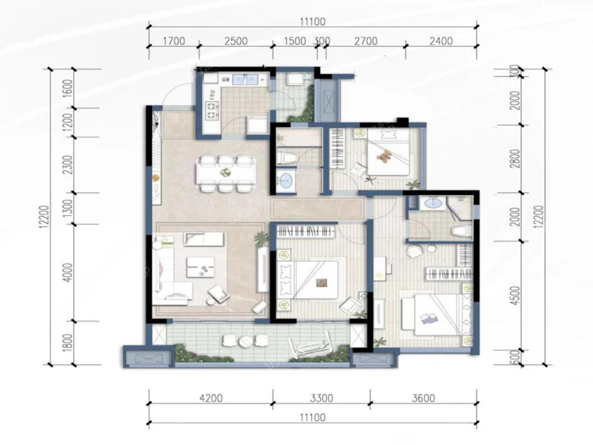 华润·公园九里3室2厅2卫户型图