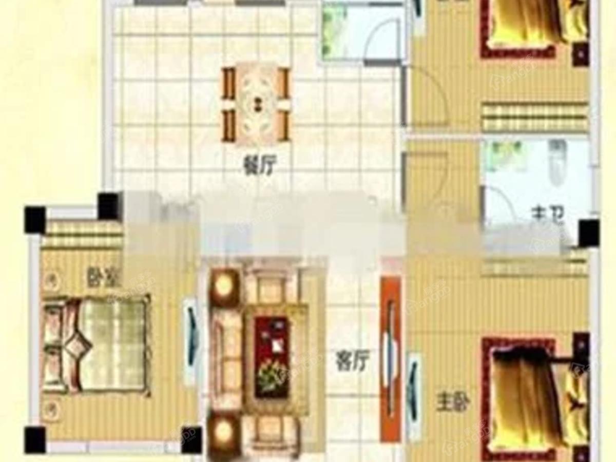 北国明珠3室2厅2卫户型图