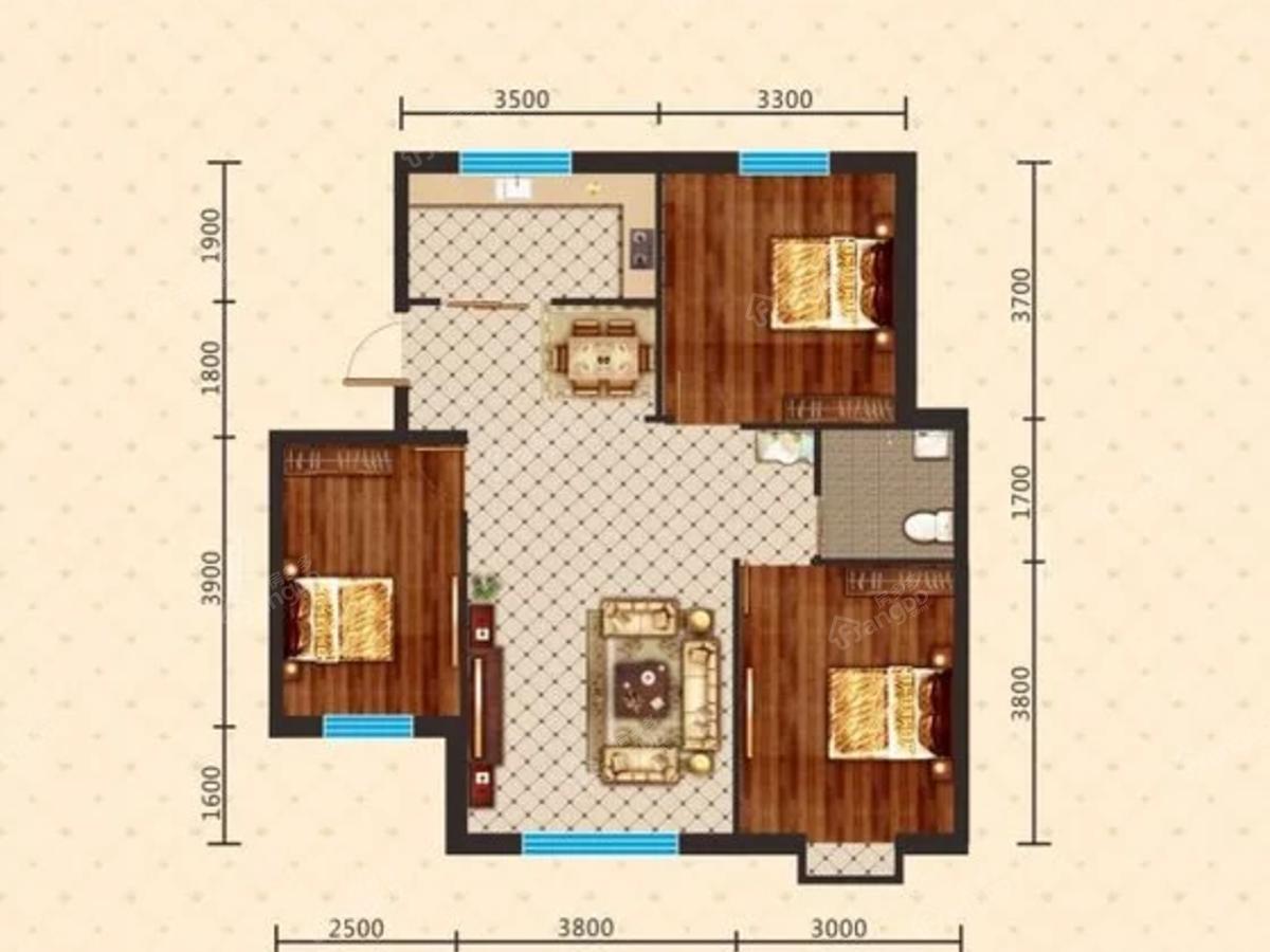 宝青丽景天成3室2厅2卫户型图