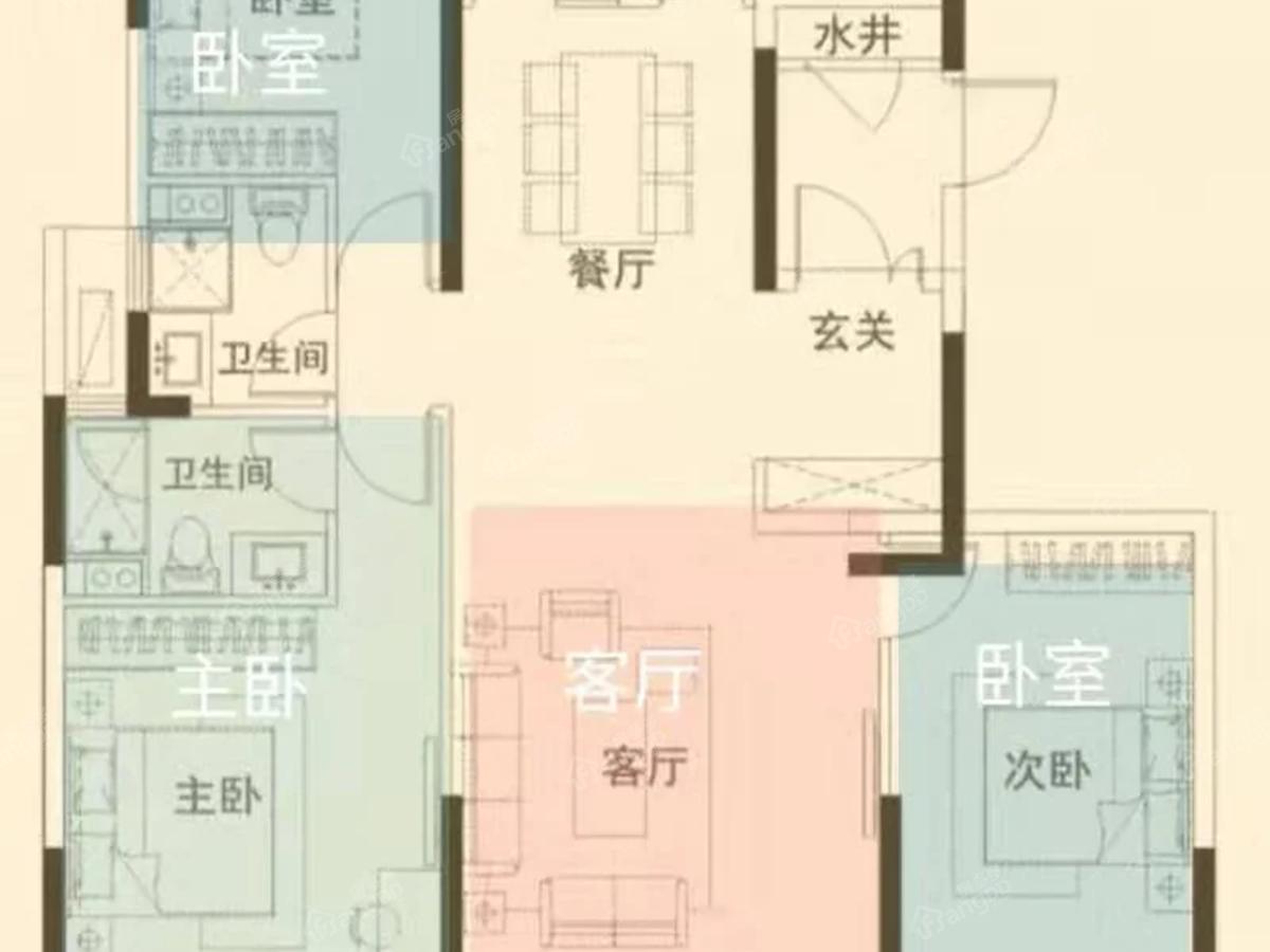 伯爵郦城3室2厅2卫户型图