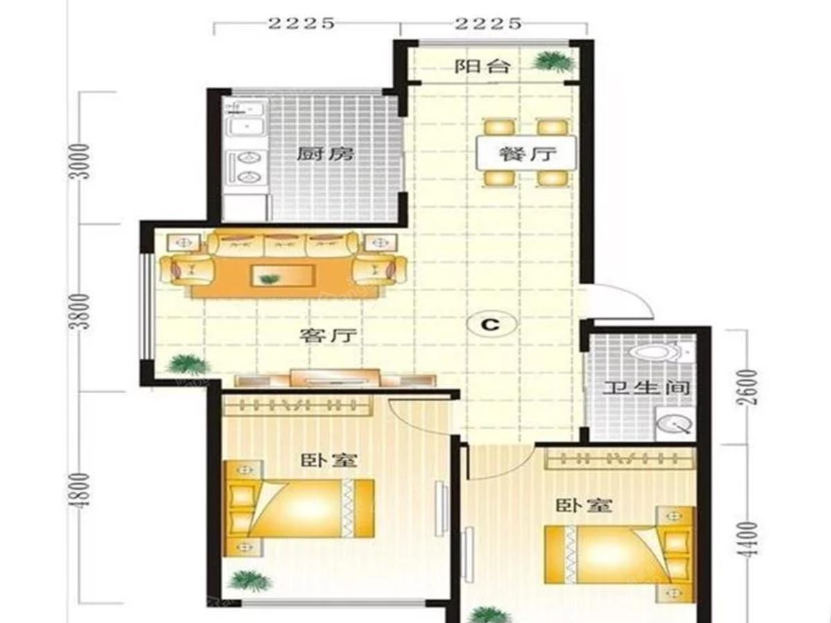 瀚太家园2室2厅1卫户型图
