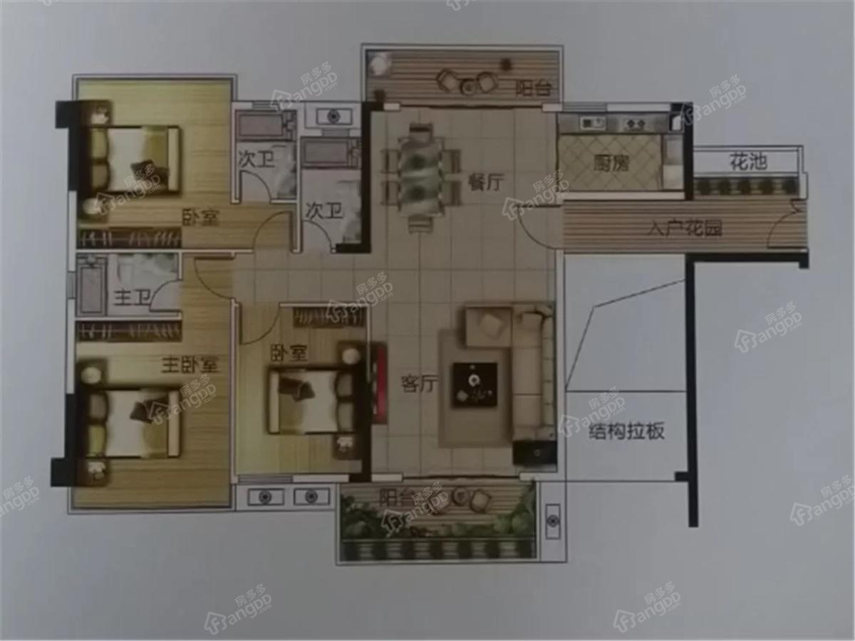华夏金沙湾3室2厅3卫户型图