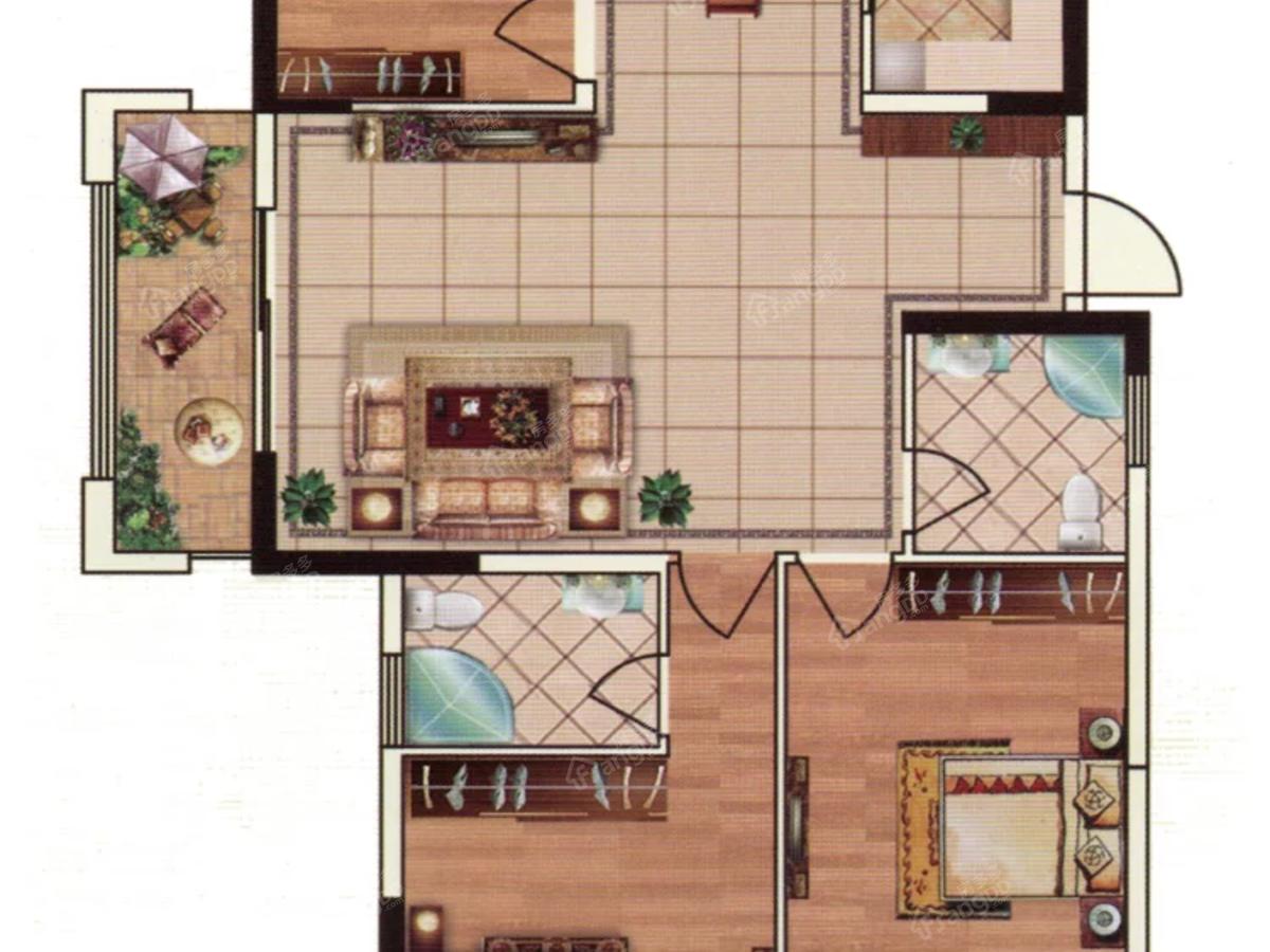 亿丰时代广场3室2厅2卫户型图