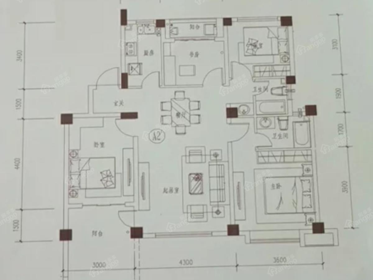 唐源香泉3室2厅2卫户型图