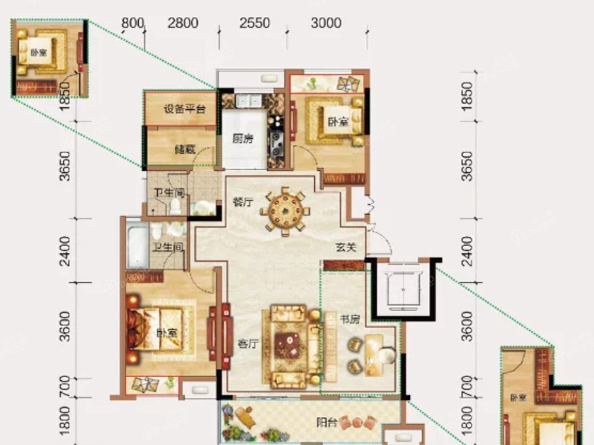 三巽亳公馆3室2厅2卫户型图