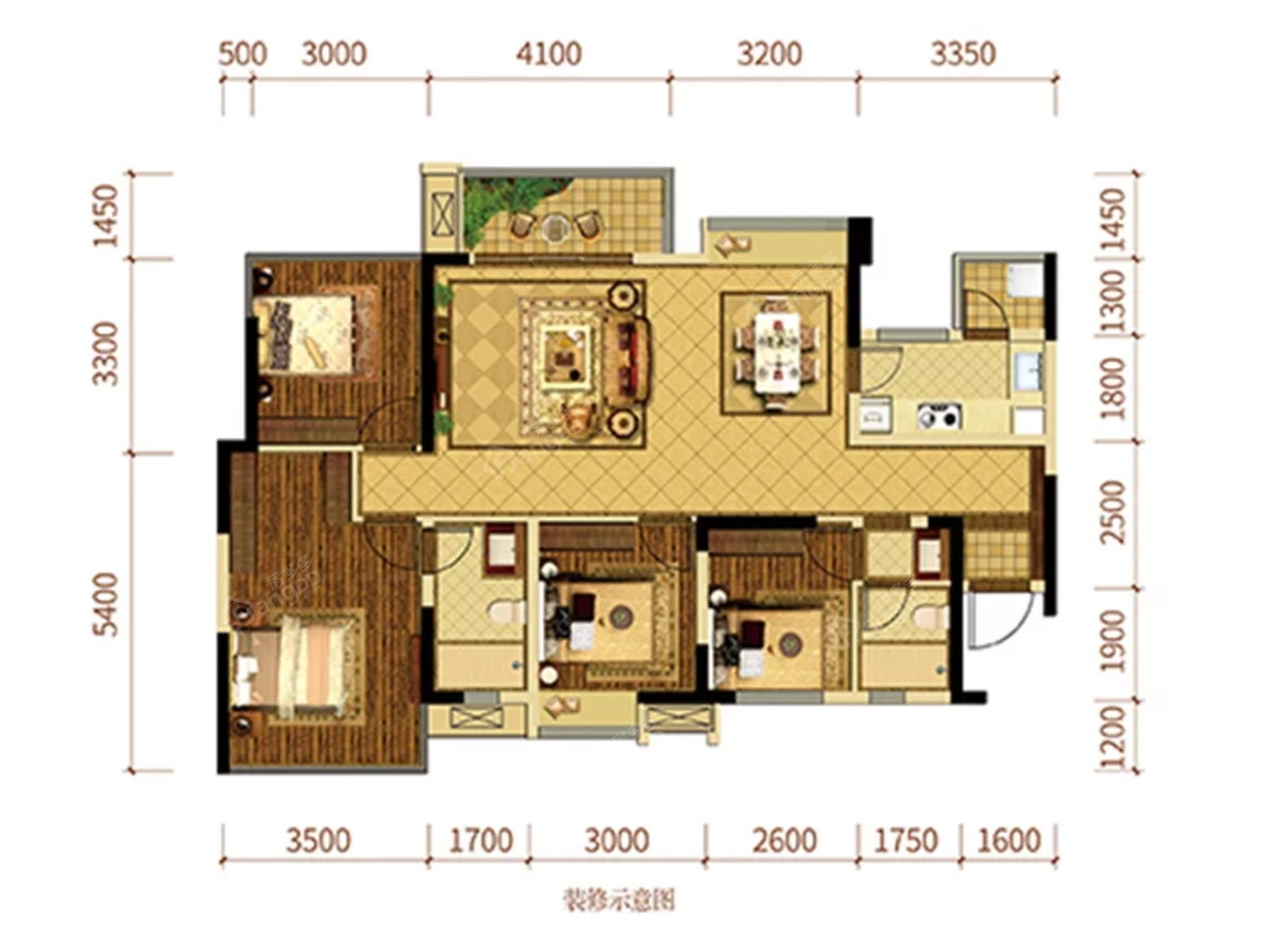 优筑·印江洲4室2厅2卫户型图