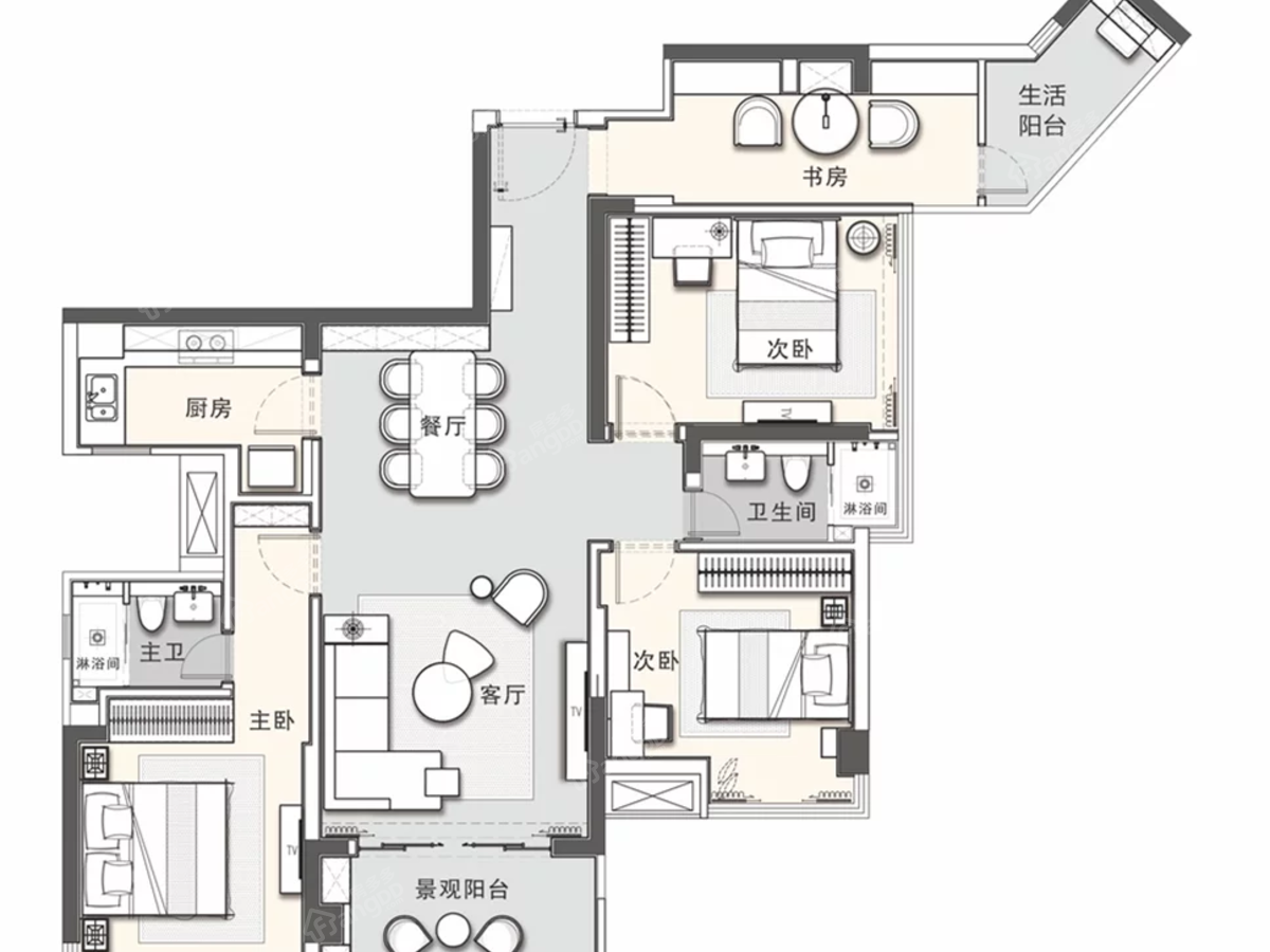广雅·金榜华庭4室2厅2卫户型图