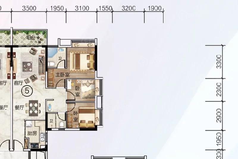 富力中以科技小镇3室2厅2卫户型图