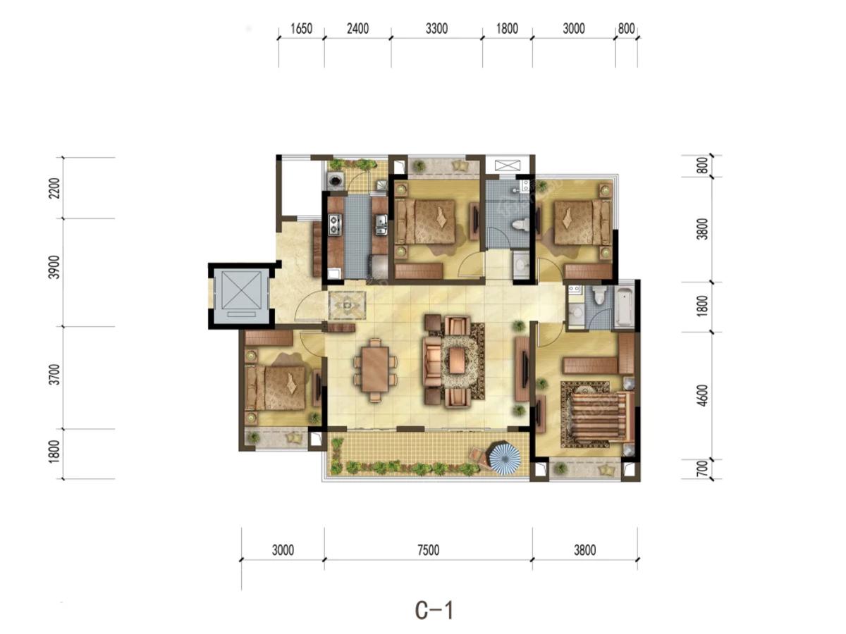 宏达雍锦悦府4室2厅2卫户型图