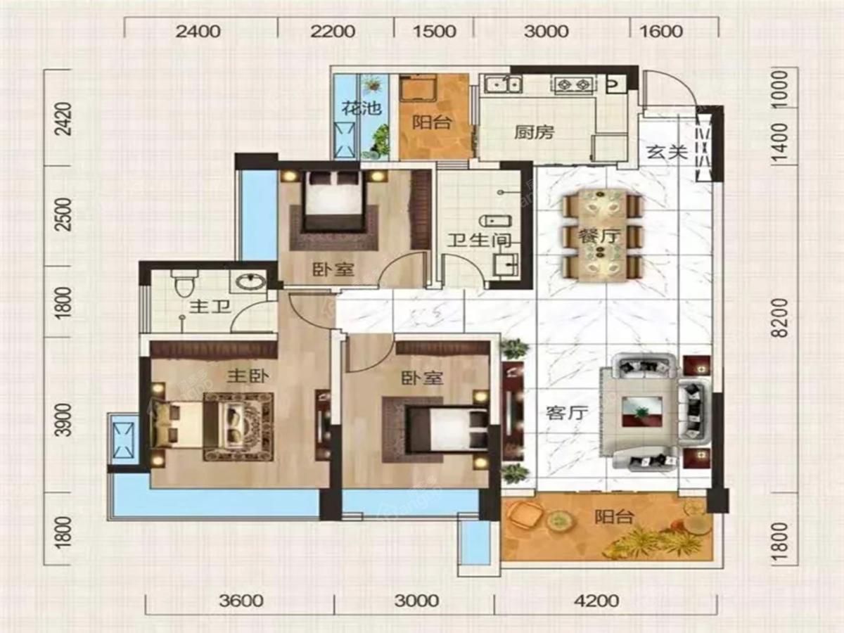 德溪大院3室2厅2卫户型图