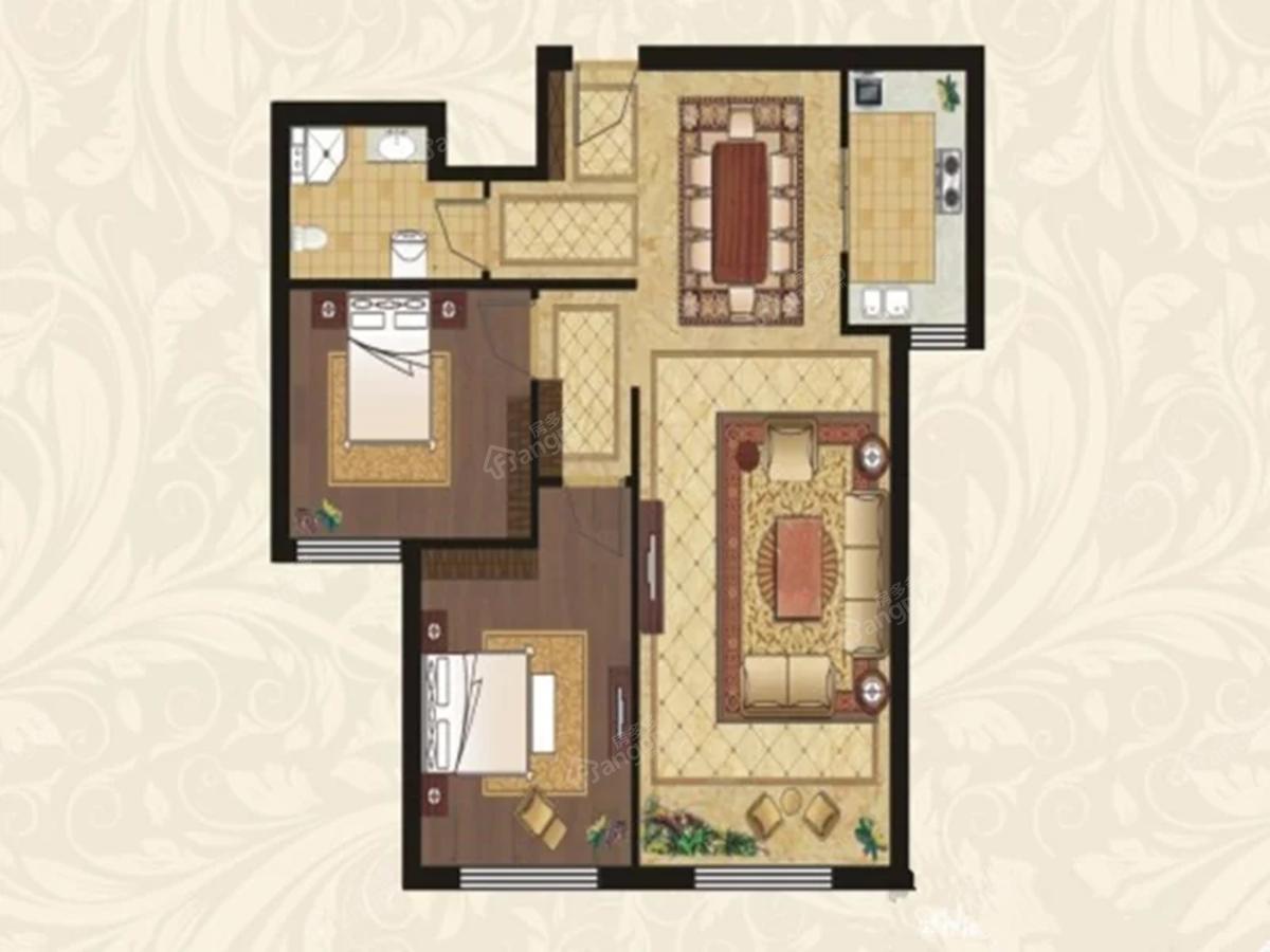 中海·雲鼎大观2室2厅1卫户型图