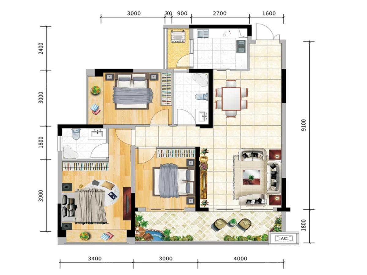 丰业香山郡3室2厅2卫户型图