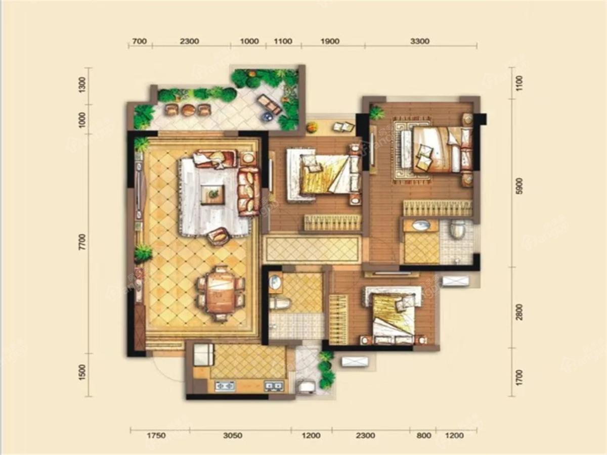 逸合·乐湾悦府3室2厅2卫户型图