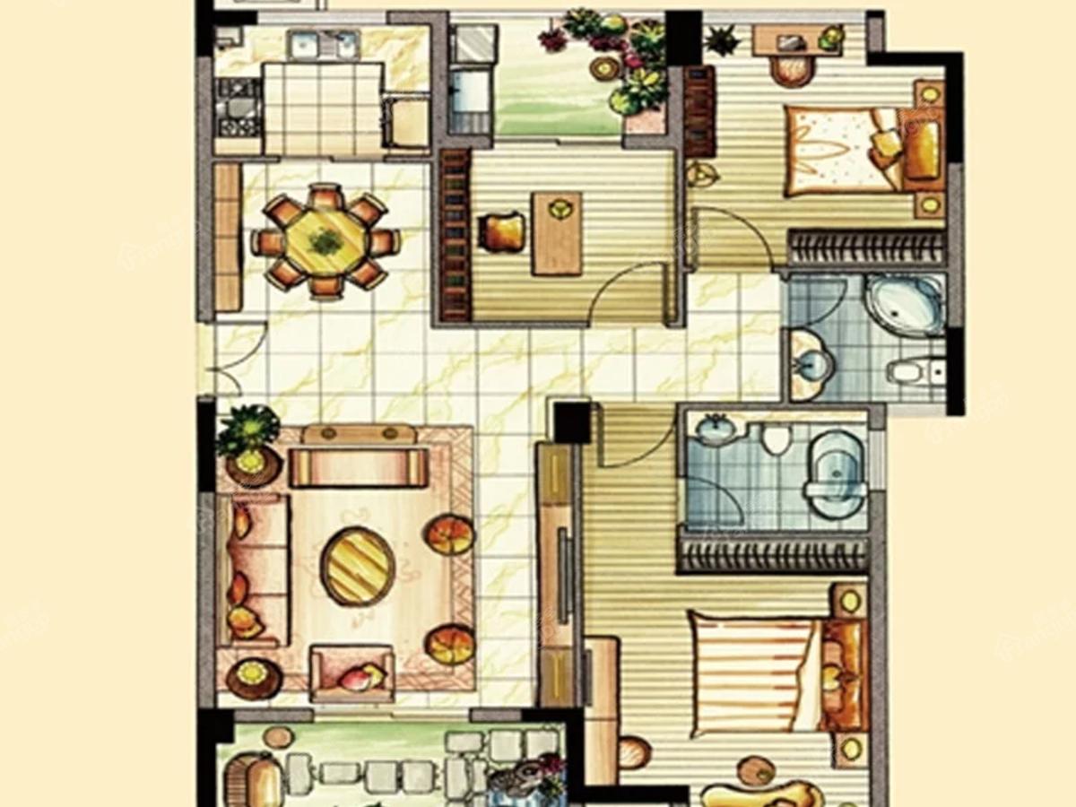 翡翠城3室2厅2卫户型图