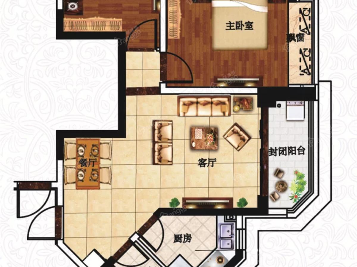 营口恒大城2室2厅1卫户型图