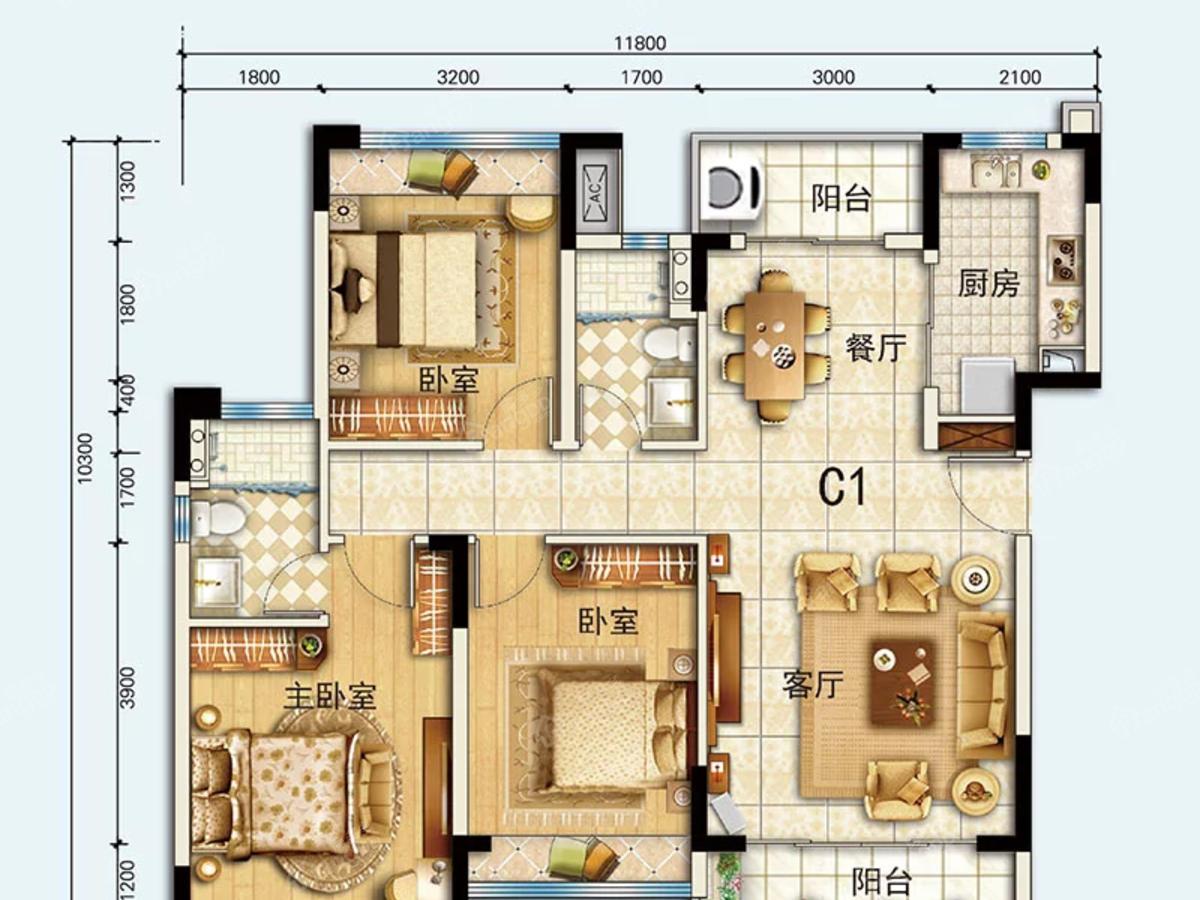 恩平泉林黄金小镇3室2厅2卫户型图
