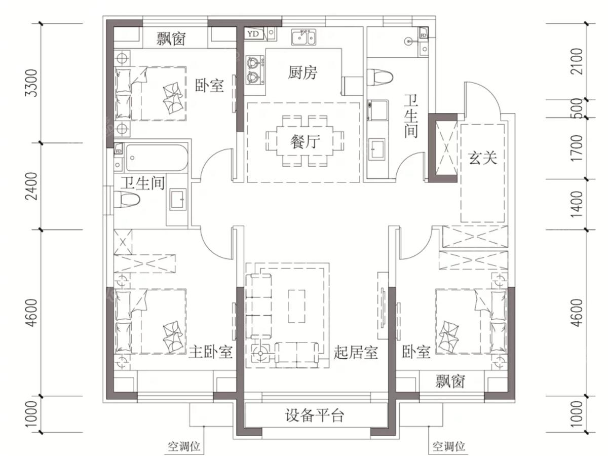 汇银东樾3室2厅2卫户型图