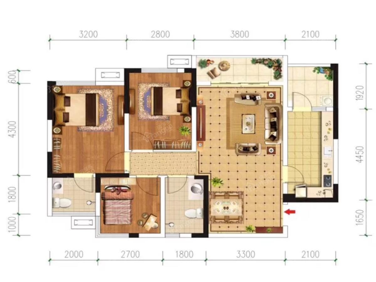 远达第一城3室2厅2卫户型图