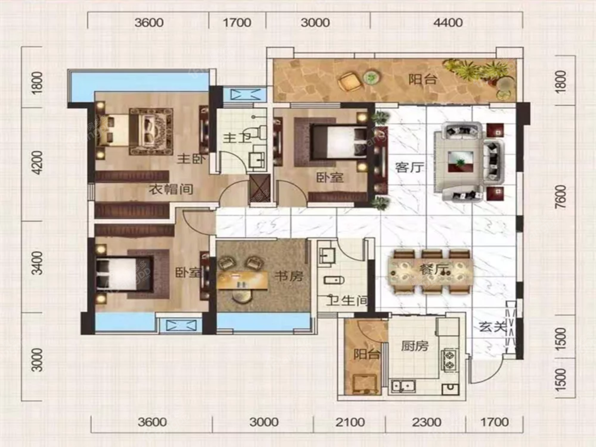 德溪大院4室2厅2卫户型图