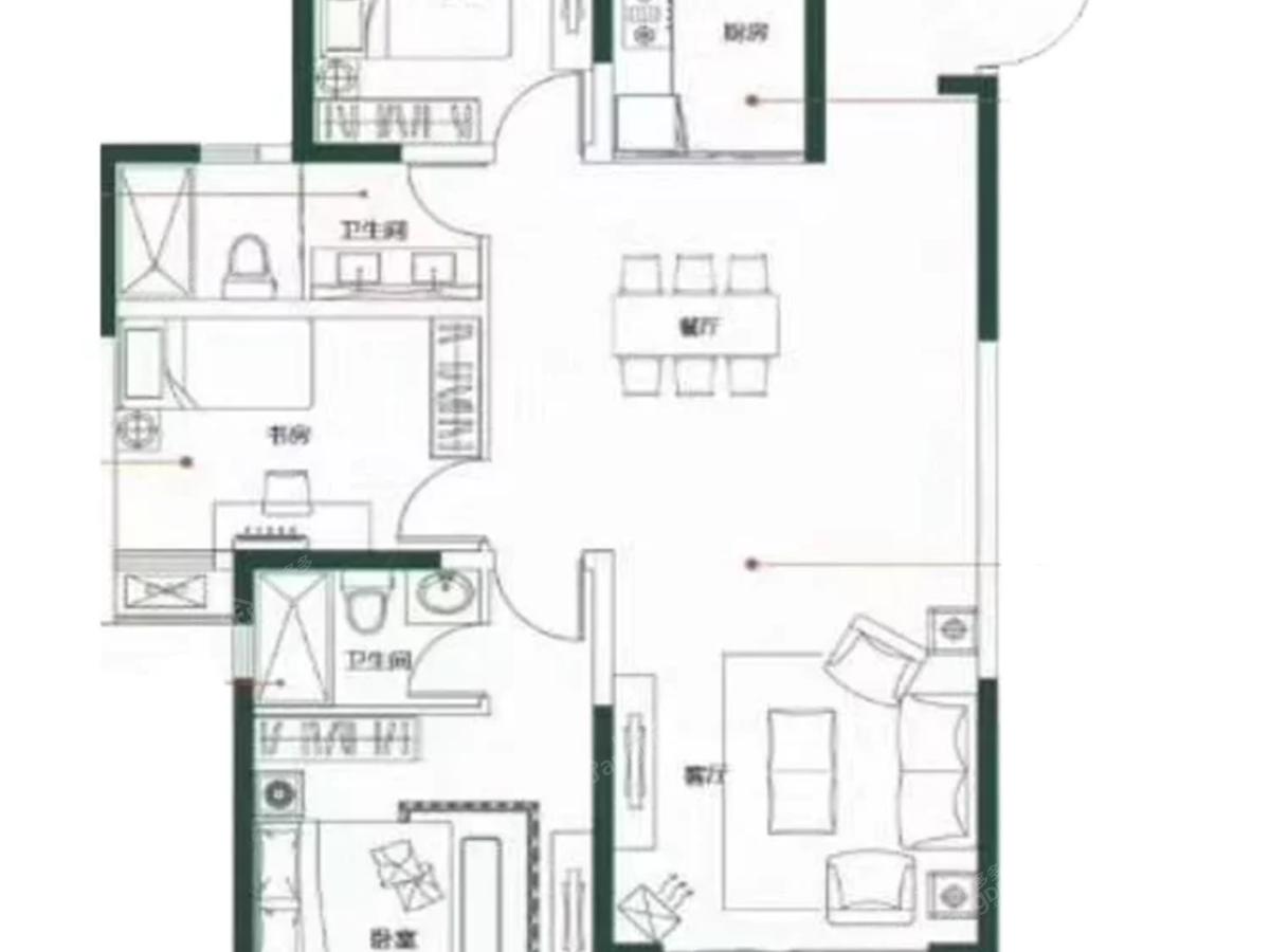 建华观园3室2厅2卫户型图