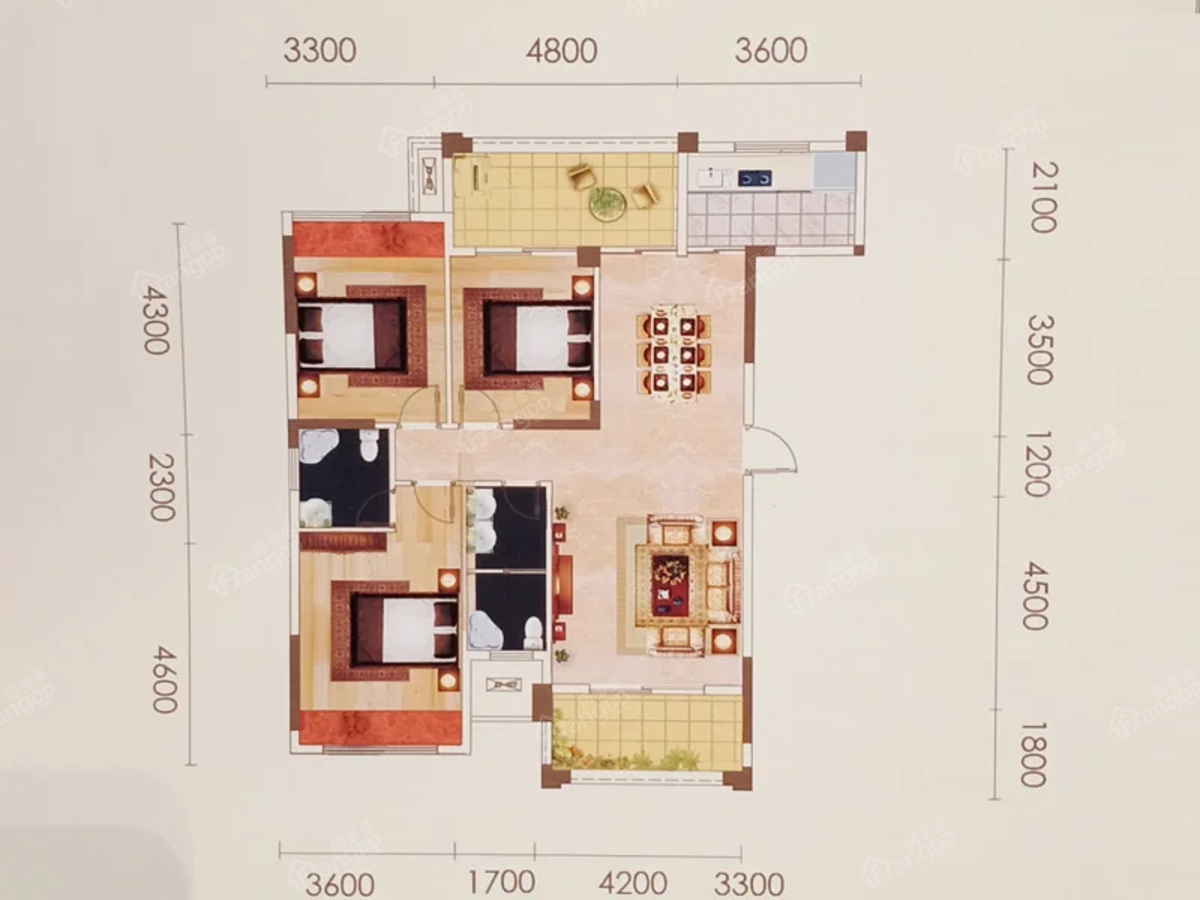 宝峰城3室2厅2卫户型图