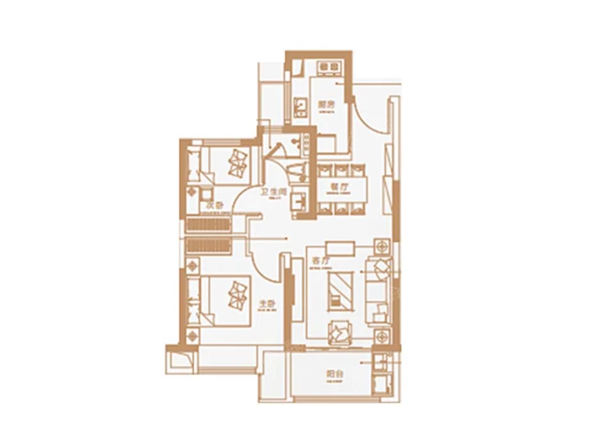 海伦堡·云璟台2室2厅1卫户型图