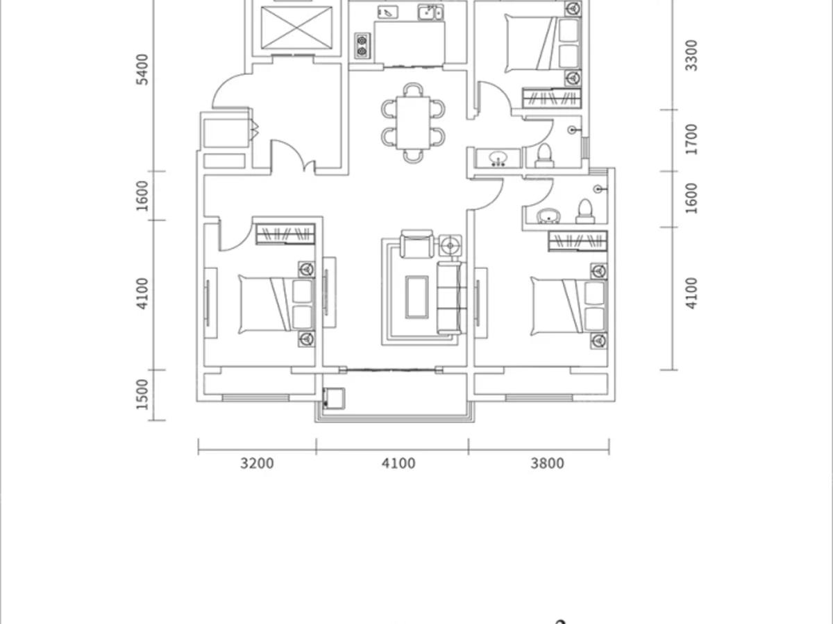 鲁山县幸福城壹号院3室2厅2卫户型图