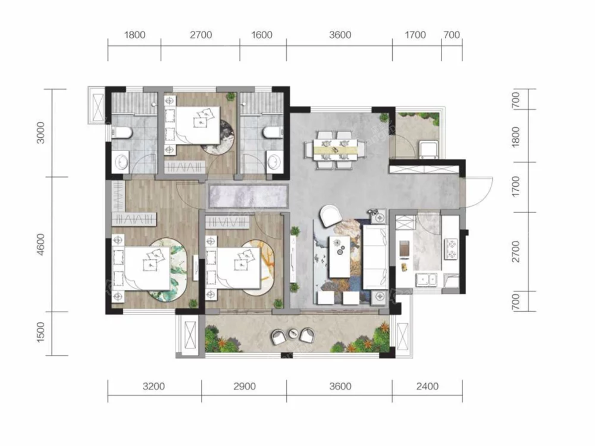 中南·春江阅3室2厅2卫户型图