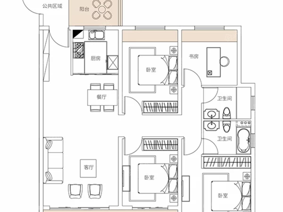 湾田·盘州盛世4室2厅2卫户型图