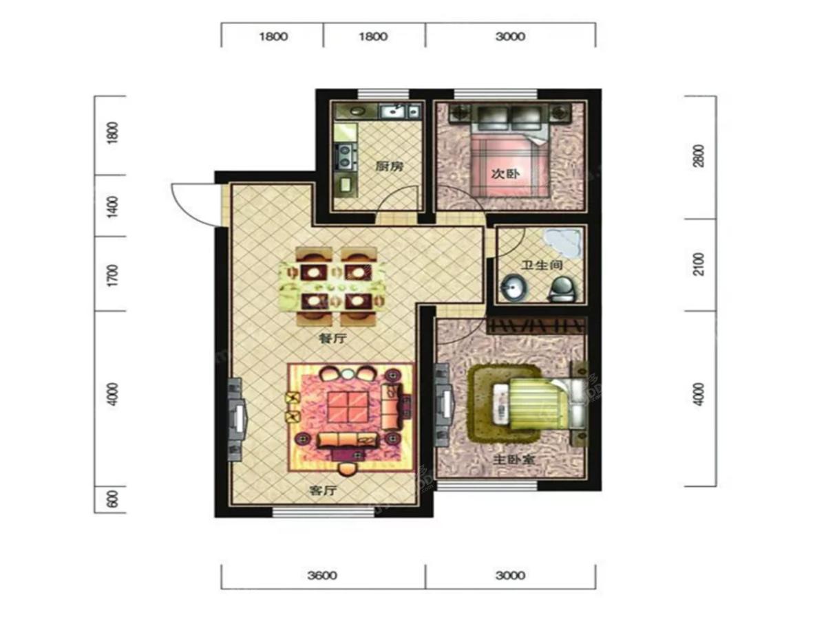 恒威滨江国际2室2厅1卫户型图