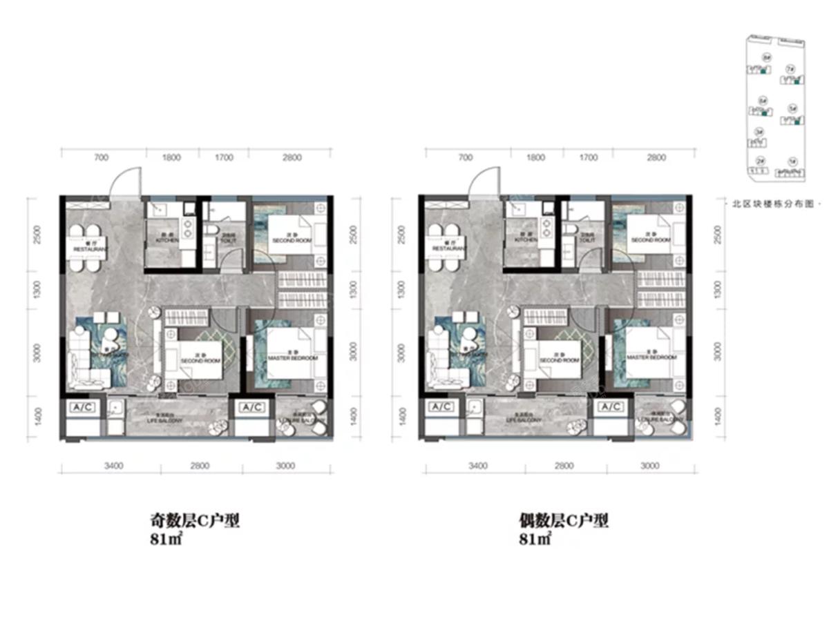 红星·铂瑞花园3室2厅1卫户型图