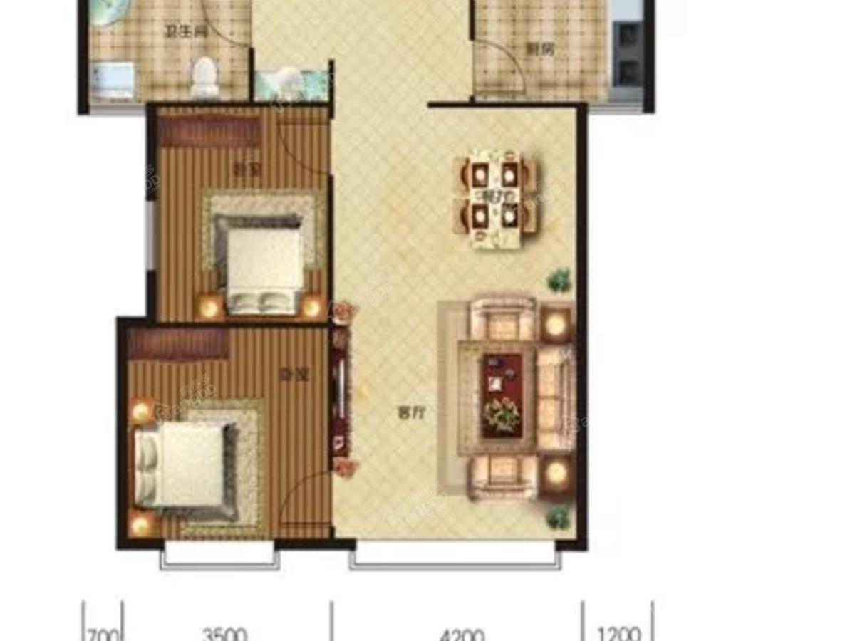 七星花园2室2厅1卫户型图