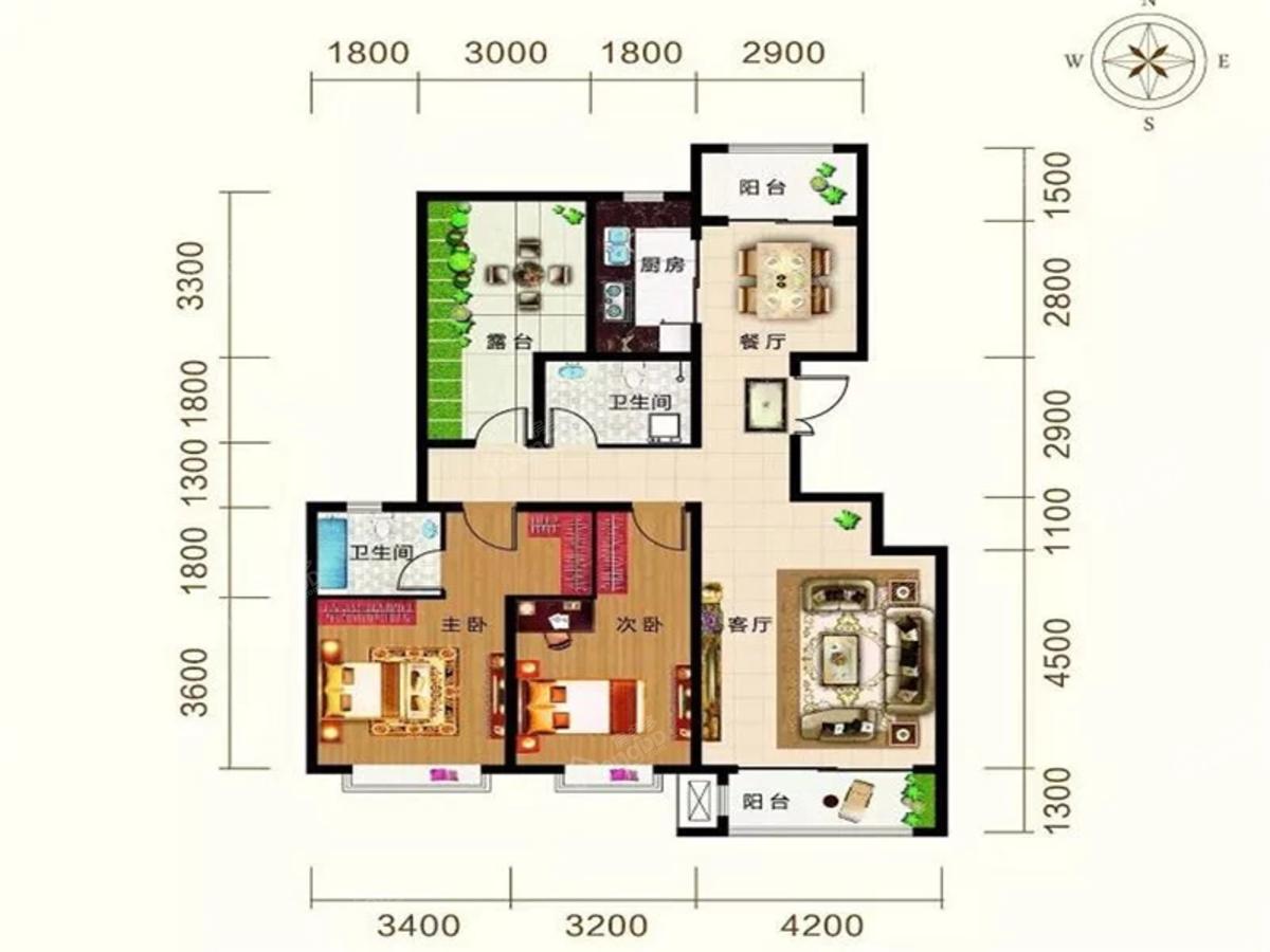 御湖尊邸2室2厅2卫户型图