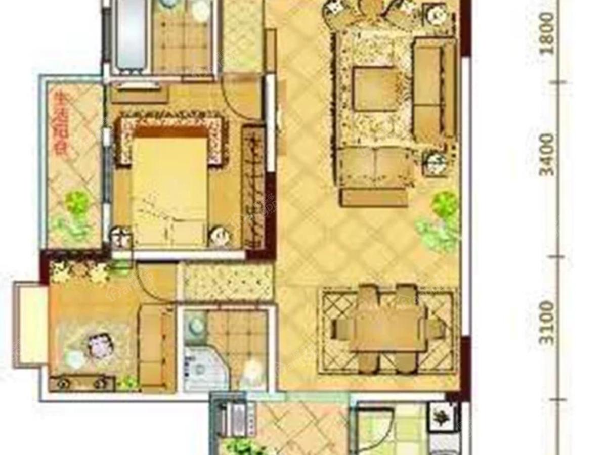 巴河金典3室2厅2卫户型图