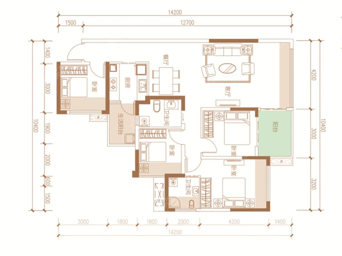 阳光印江山4室2厅2卫户型图