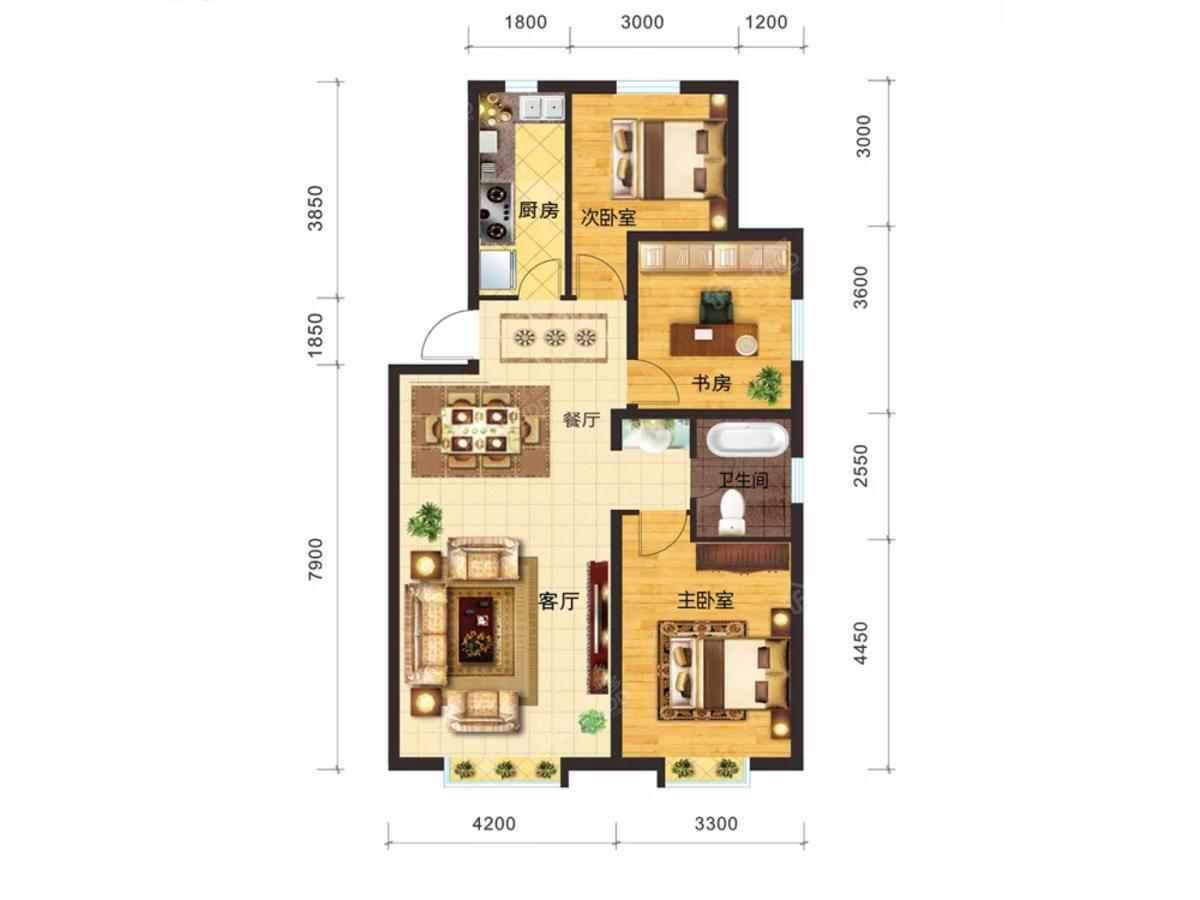 新天润国际社区六期·橙郡3室2厅1卫户型图