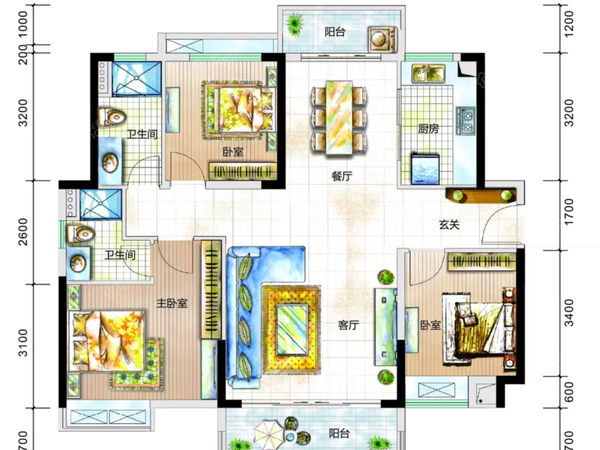 富盈松湖公馆3室2厅2卫户型图
