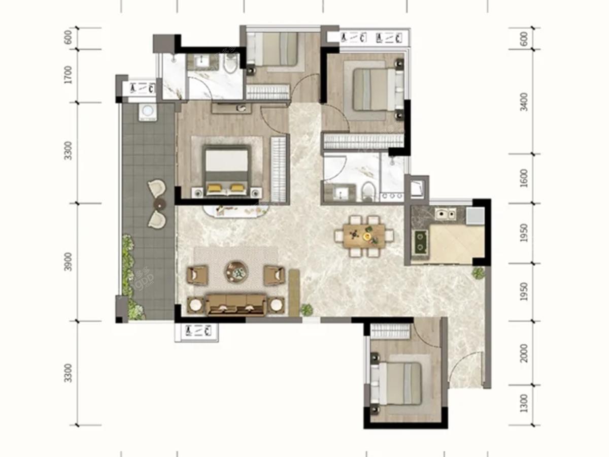钰海豪庭4室2厅2卫户型图