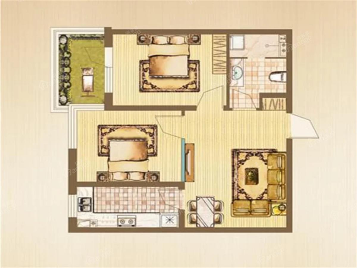 中房金沙滩澜湾2室1厅1卫户型图