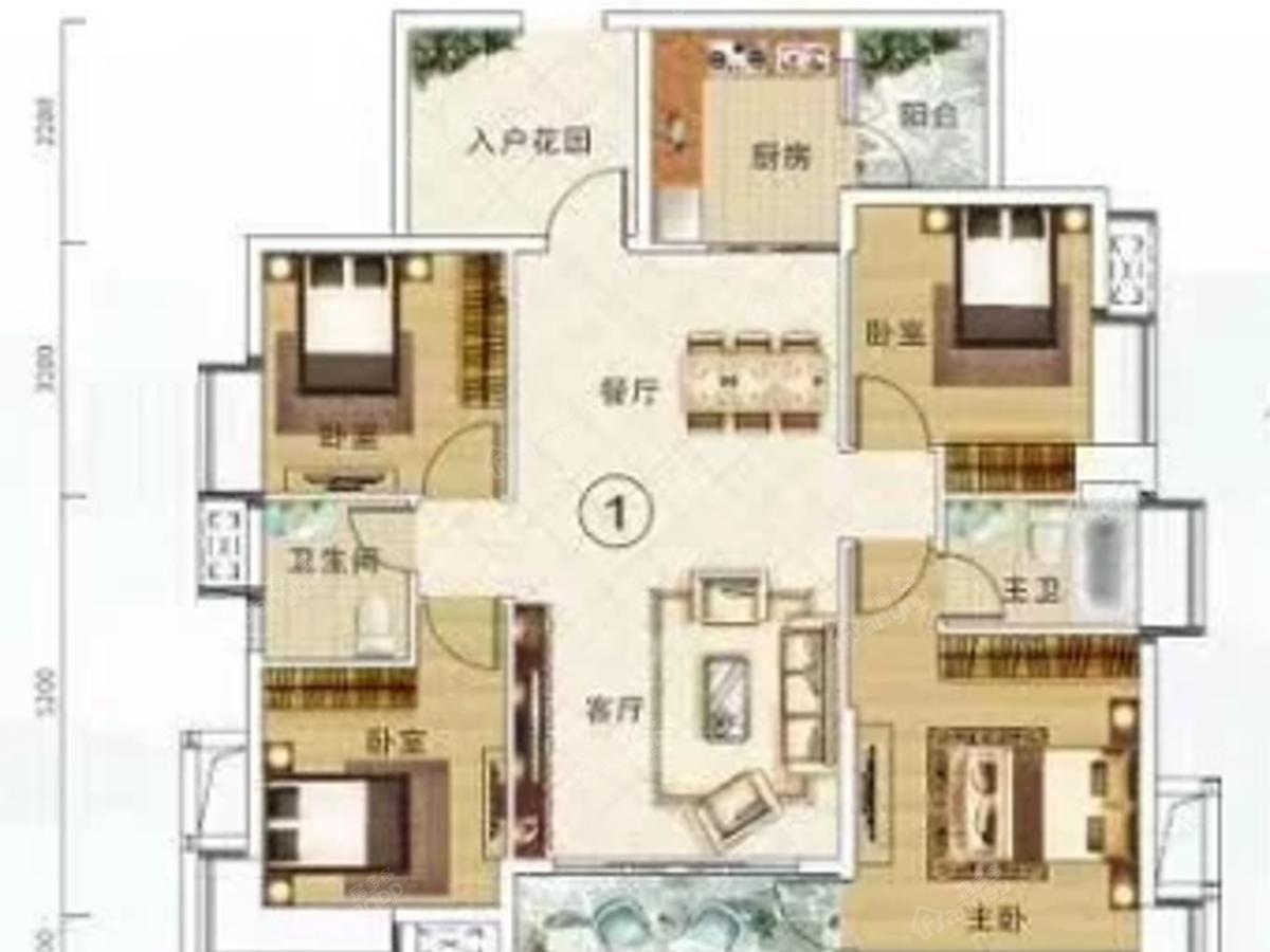 云峰诗意4室2厅2卫户型图