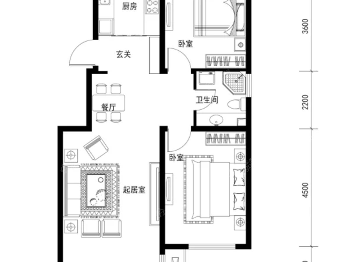 新东方天地2室1厅1卫户型图