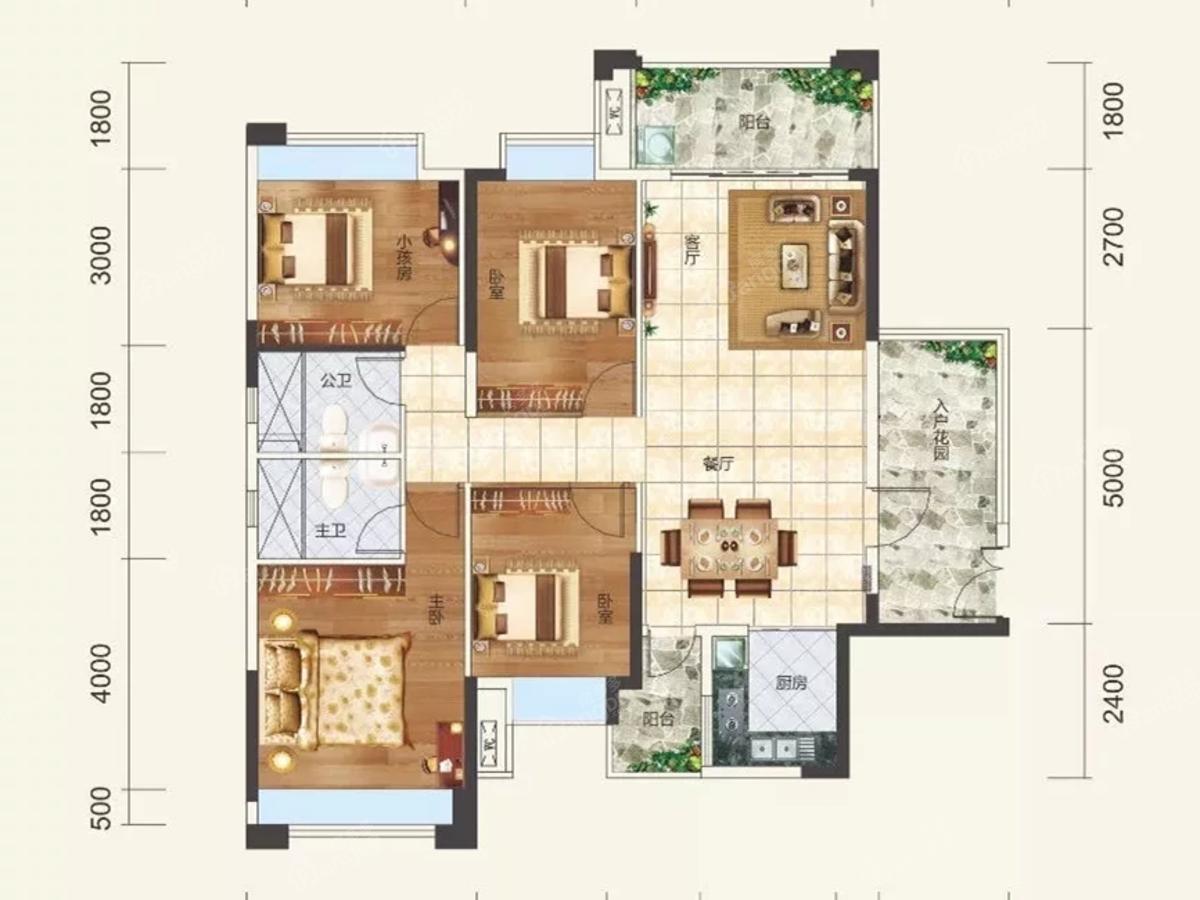 鑫盛名城4室2厅2卫户型图