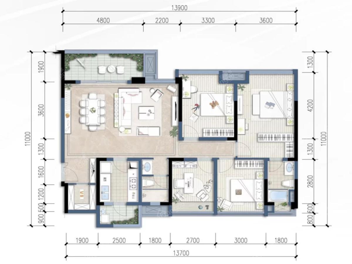 华润·公园九里4室2厅2卫户型图