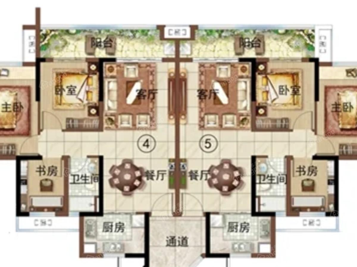 绿地新里海玥公馆3室2厅1卫户型图