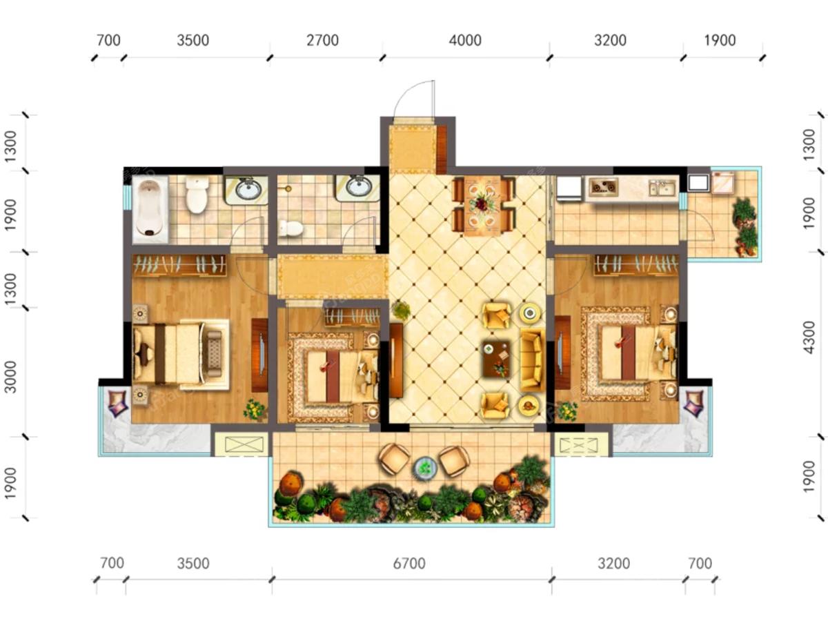 中央华府3室2厅2卫户型图