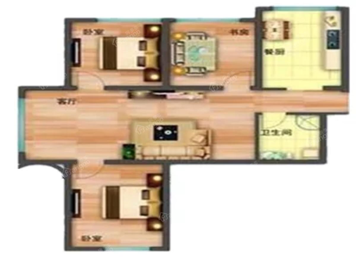幸福里小区3室2厅2卫户型图